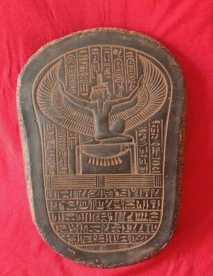 Ancient Egyptian Winged Isis Relief egypt antique With hieroglyphic writings
