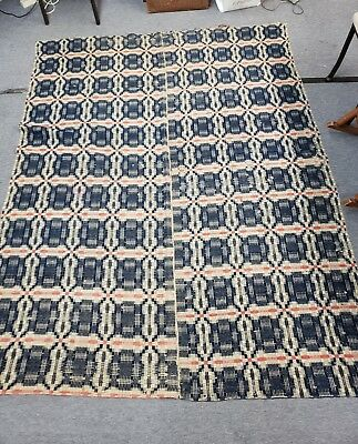 Antique Hand Loomed Wool Coverlet Early 1800's with Attached Provenance