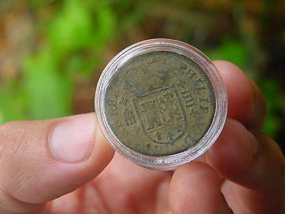 AUTHENTIC 1600s PIRATE COB COIN TREASURE NICE DETAIL CREST OUTLINE z16