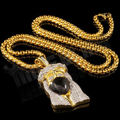 18K Gold Plated Iced Out CZ JESUS BANDANA PIECE Hip Hop Pendant 4mm Box Chain