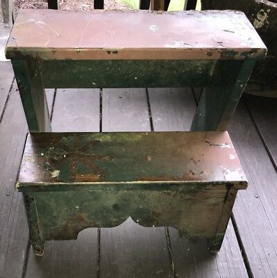 Vintage Handcrafted Wooden Bed Step Stool 2 Step - Painted and Chipped