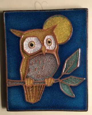 For Owl Collecters A Delightful Colorful Vintage Majolica Clay Tile From Germany