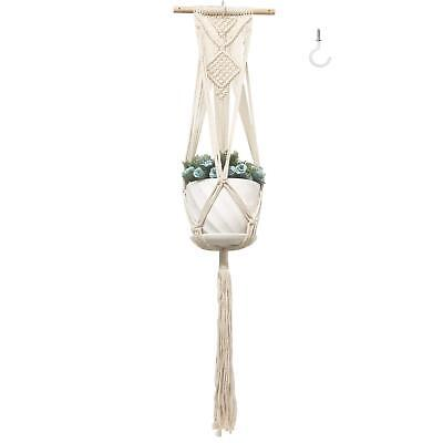 Plant Hanger with Ceiling Hook, Macrame Cotton Cord Planter Hanger for Indoor