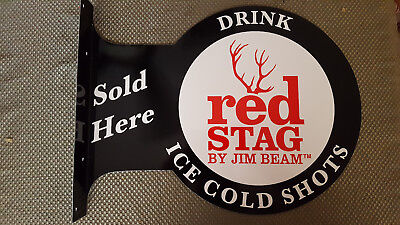 "JIM BEAM RED STAG BOURBON BAR MAN CAVE 18"" x 14"" ADVERTISING SIGN"
