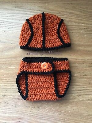 Hand Crocheted Basketball photo Prop , handmade baby outfit, newborn outfit 0-3M