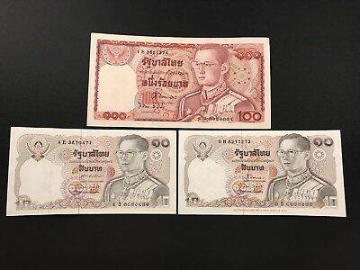 Thai 100 / 10 Banknote Lot King Rama Ix Bhumibol Of Thailand -Collectible-