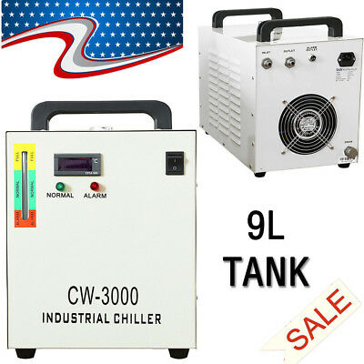 US Stock CW-3000 Industrial Water Chiller 50W for Laser Tube Cooling 110V Pro