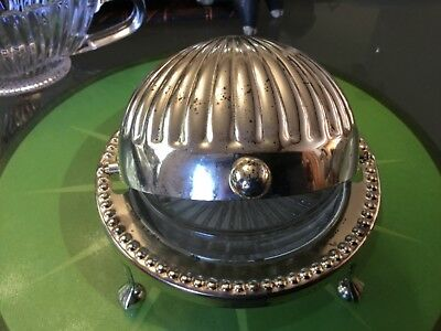 Lidded Vintage SILVERPLATED BUTTER DISH with depression glass insert VGUC