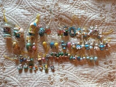 Lot of 50+ Vintage Miniature Wooden, Glass, Resin Easter Ornaments