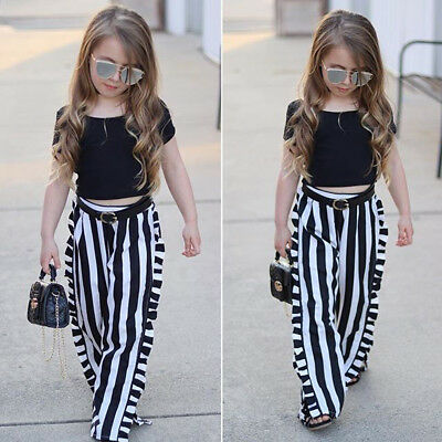 AU Newborn Toddler Baby Girl Short Sleeve T-shirt Top+Stripe Pant Outfit Clothes