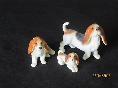 Lovely Set of 3 Porcelain Beagle Figurines