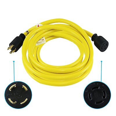 Houseables Generator Cord, Electric Extension Wire, 4 Prong, 30 Amp, 125-250v,