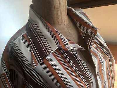 Vintage 70s STRIPED POLYESTER SHIRT size 43 44 neck Taiwan Hong Kong West Point