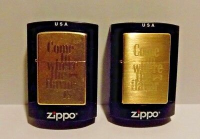 Marlboro Zippo Lot #4 Collection of 2 Lighters with Brass Cases NEW