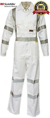 Overall Night Work RTA NSW ROAD TRAFFIC White Coverall, 3M TAPE, BEST QUALITY