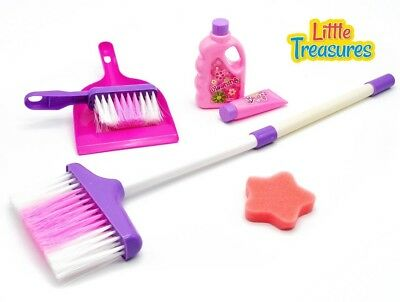 High quality cleaning play set from Little Treasures - Complete with broom,