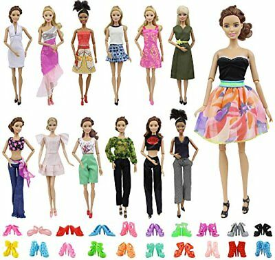 ZITA ELEMENT Lot 10 Set Mix Style Fashion Handmade Clothes Outfit + 10 Pairs