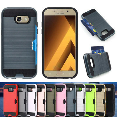Hybrid Brushed Armor Rubber Card Case Cover for Samsung Galaxy A3 A5 A7  2017