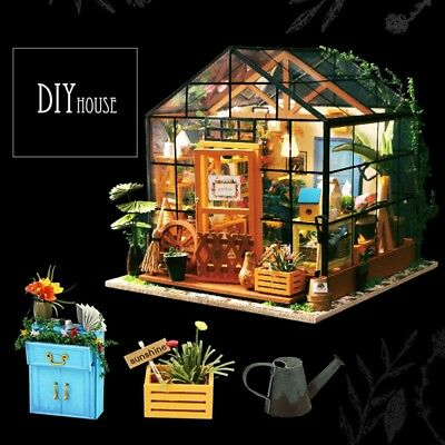 DIY Wooden Flower house Miniature Dollhouse 3D LED Mini Dollhouse Kit With  S1Y8