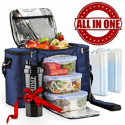 Meal Prep Lunch Bag / Insulated Lunch Box For Men  Women + 3 Large Leak-proof