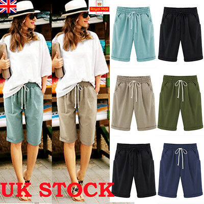 UK New Women Ladies Linen Summer Casual Shorts Holiday Crop Pants Plus Size 6-20