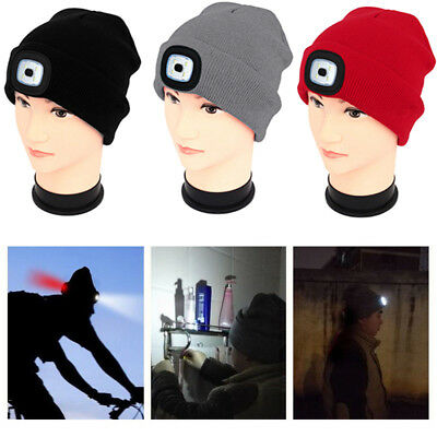 4 LED Light Knit Beanie Cap Hat Head Lamp Outdoor Hunting Camp LI Fishing Hiking
