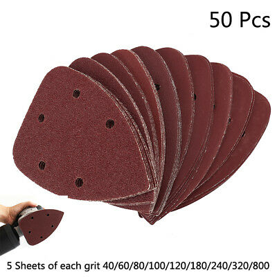 50PCS Mouse Sanding Sheets Discs Fit Black and Decker Detail Palm Sander Pads UK