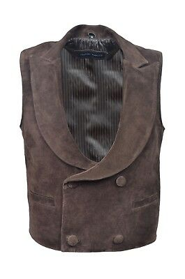 "New Men""s Classic Edwardian Brown Real Suede Leather Waistcoat Fashion Design"