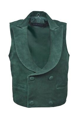 "New Men""s Classic Edwardian Green Real Suede Leather Waistcoat Fashion Design"