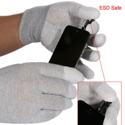 1 Pair ESD Safe Gloves Anti-static Anti Skid PU Finger Top Coated for Electronic