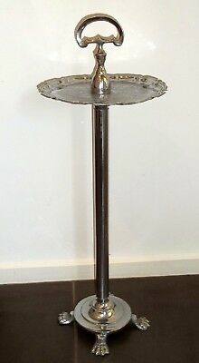 Vintage Chrome Smokers Stand Drinks Table  Lion Paw Feet