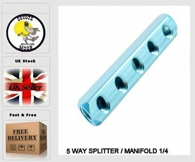 5 WAY SPLITTER / MANIFOLD 1/4 pneumatic, compressor, Air line UK SELLER