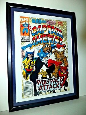 CAPTAIN AMERICA Comic # 406 Sept 1992 WOLF MARVEL MOUNTED FRAMED READY TO HANG