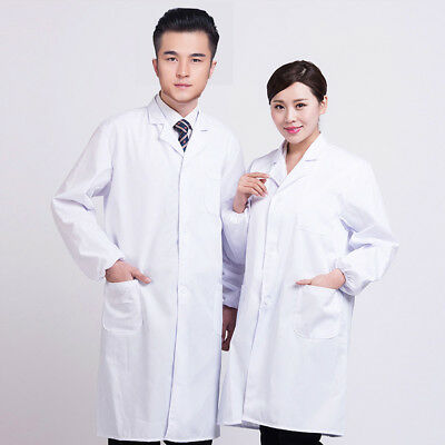 Mens Womens White Lab Coat Scrub Medical Doctor's Lapel Collar Jacket Technician
