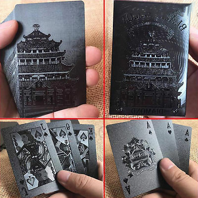 Black Playing Cards Deck Frosting Black Diamond Poker Waterproof Limited Edition