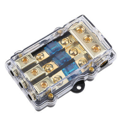 3 in 1 out Power Distribution Block 4/8 AWG Gauge AGU Fuse Holder 60A