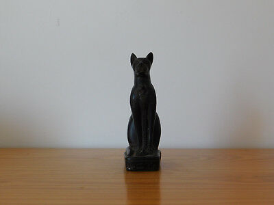 c.19th - Antique Vintage Egypt Egyptian Black Cat Figurine Statue Figure