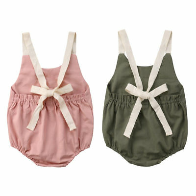 Toddler Baby Kids Girls  Sleeveless Bodysuit Jumpsuit Romper Outfits Clothes