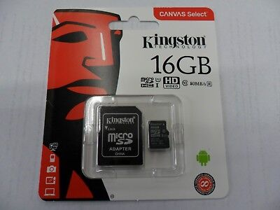 KINGSTON Micro SD 16 GB classe 10   80 MB/S Canvas  select SCHEDA MEMORIA HD