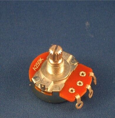 Warman Alpha B250k full size guitar volume potentiometer with 1 nut and washer.