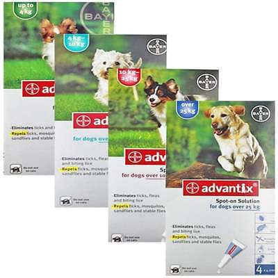 Bayer ADVANTIX Fleas and Ticks Spot-on for Dogs 4 pipettes