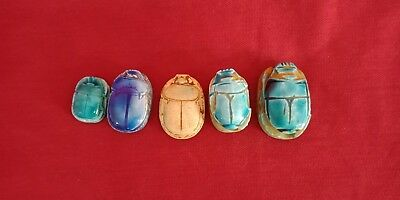 Great group of five Ancient Egypt civilization Faience Scarabs New Kingdom