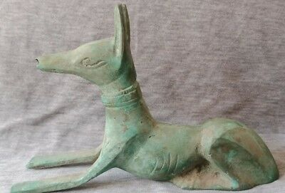 Ancient Egypt sitting Anpu Anubis Bronze figure Egyptian antiques Collectible