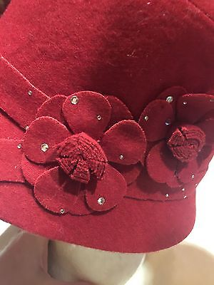Vintage Antique Style Red Wool Felt Cloche Hat With Art Deco Rosettes