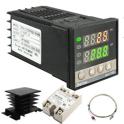 PID Digital Temperature Controller REX-C100 with K thermocouple, Relay output