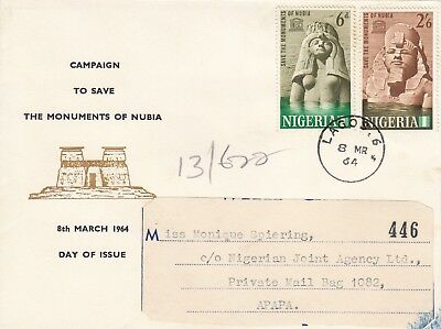 L 685 Nigeria Nubia Monuments March 1964 First Day Cover
