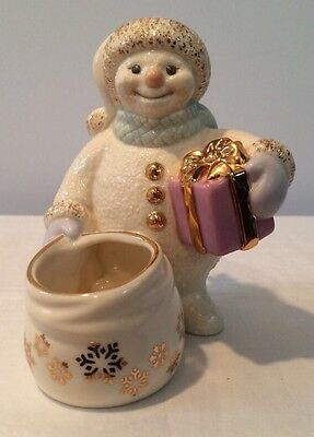 Lenox Snowman's Glow Votive 24K Snowflake Decorated Christmas Themed Adorable!