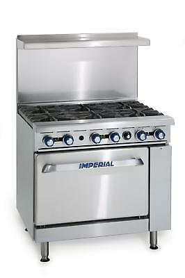 "Imperial Range IR-6-C 36"" Commercial Gas 6 Burner Range w/ 26.5"" Convection Oven"