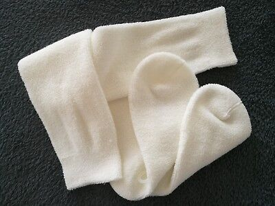 Soft cozy vintage 70´s-80´s white knee high terrycloth socks outside terry loops