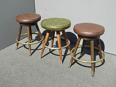 Three Mid Century Brown & Green Vinyl Swivel Counter BAR STOOLS  by Calorator